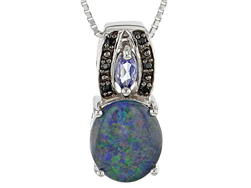 11x9mm Australian Opal Triplet, .12ctw Tanzanite And .03ctw Black Spinel Silver Pendant With Chain