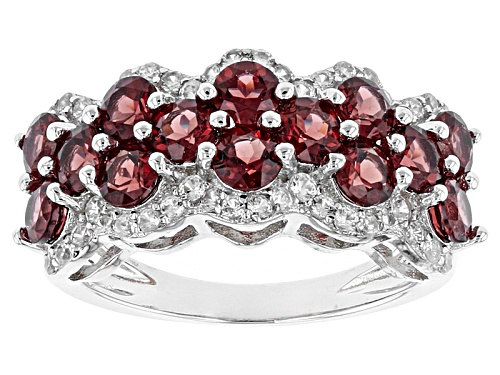 Photo of 3.50ctw Round Vermelho Garnet™ And .49ctw Round White Zircon Sterling Silver Band Ring - Size 6