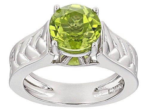 Photo of 1.70ct Round Manchurian Peridot™ Sterling Silver Solitiare Ring - Size 12
