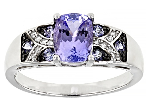 Photo of 1.37ctw Rectangular Cushion And Round Tanzanite With .07ctw Round White Zircon Sterling Silver Ring - Size 11