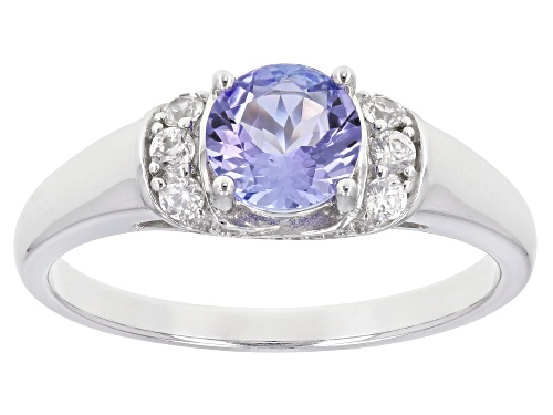 Photo of 1.11ct Round Tanzanite With .35ctw Round White Zircon Sterling Silver Ring - Size 12