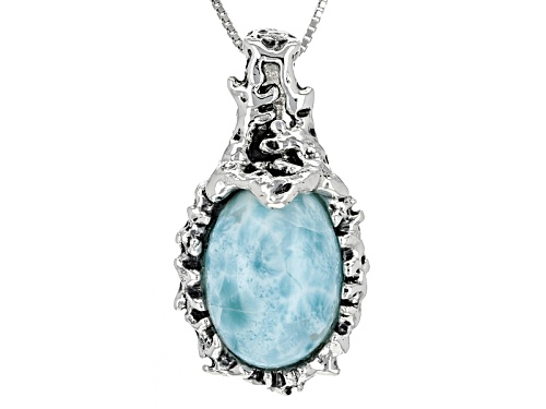 Photo of 18x13mm Oval Larimar Cabochon Sterling Silver Pendant With Chain