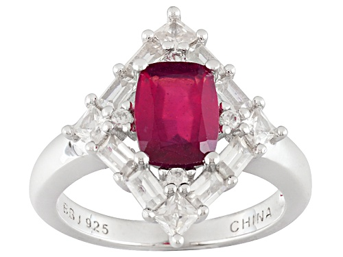 Photo of 1.72ct Rectangular Cushion Mahaleo® Ruby And 1.24ctw Mixed White Zircon Sterling Silver Ring - Size 8