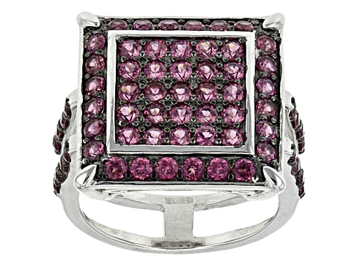 Photo of 2.46ctw Round Raspberry color Rhodolite Sterling Silver Ring - Size 5