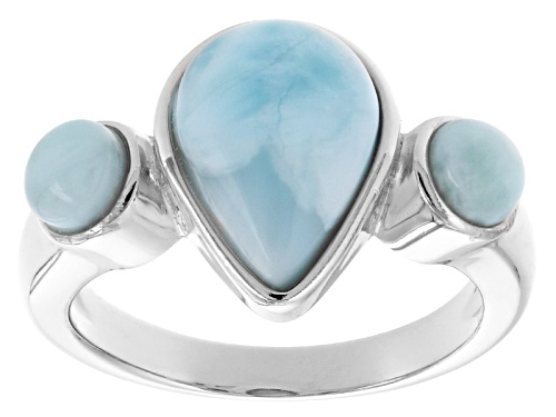 Photo of 13x9mm Pear Shape And 5mm Round Cabochon Larimar Sterling Silver Three-Stone Ring - Size 5
