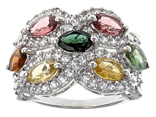 Photo of 3.22ctw Oval Brown,Pink,Green,Yellow And Blue Tourmaline With .92ctw Round White Zircon Silver Ring - Size 6