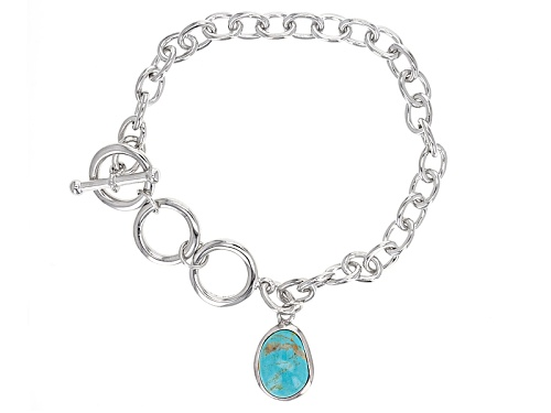 Photo of Fancy Cut Cabochon Turquoise Charm And Sterling Silver Bracelet - Size 8