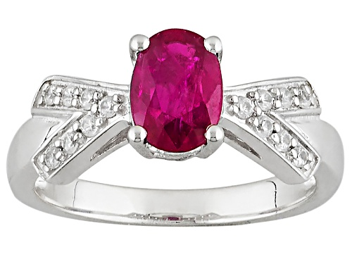 Photo of .68ct Oval Ruby And .13ctw Round White Zircon Sterling Silver Ring - Size 7