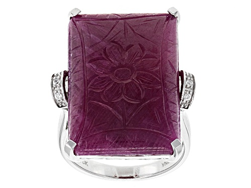 Photo of 25.00ct 25x16mm Rectangular Carved Floral India Ruby And .04ctw Round White Zircon Silver Ring - Size 5