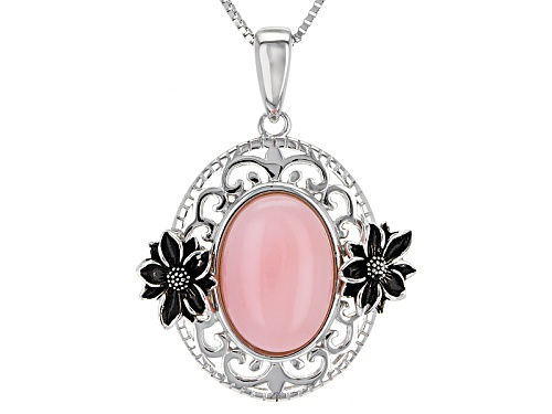 Photo of 14x10mm Oval Cabochon Peruvian Pink Opal Sterling Silver Pendant With Chain