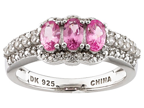Photo of .64ctw Oval Pink Spinel And .37ctw Round White Zircon Sterling Silver 3-Stone Ring - Size 11