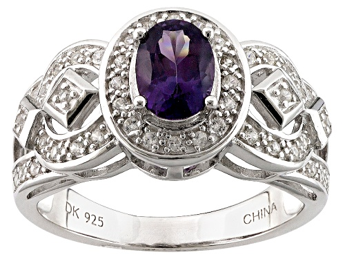 Photo of .63ct Oval Purple Spinel And .34ctw Round White Zircon Sterling Silver Ring - Size 11