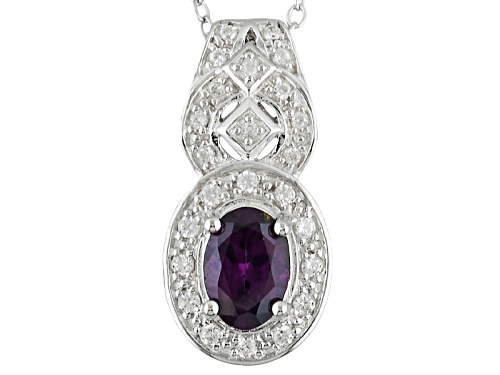 Photo of .63ct Oval Purple Spinel And .19ctw Round White Zircon Sterling Silver Pendant With Chain