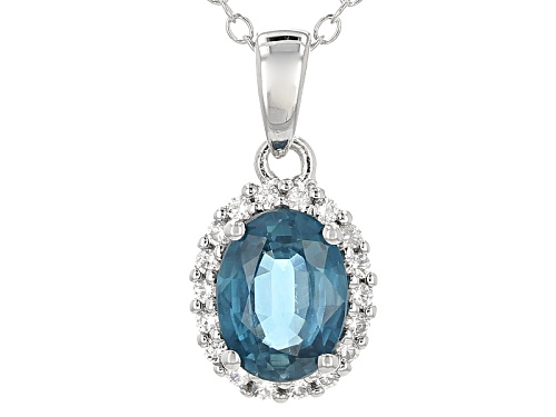 Photo of 1.35ctw Oval Chromium Kyanite With .15ctw Round White Zircon Sterling Silver Pendant With Chain