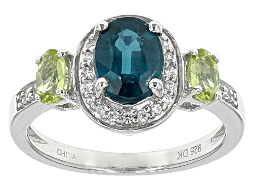 Photo of 1.35ct Oval Chromium Kyanite With .38ctw Manchurian Peridot™ And .17ctw White Zircon Silver Ring - Size 8