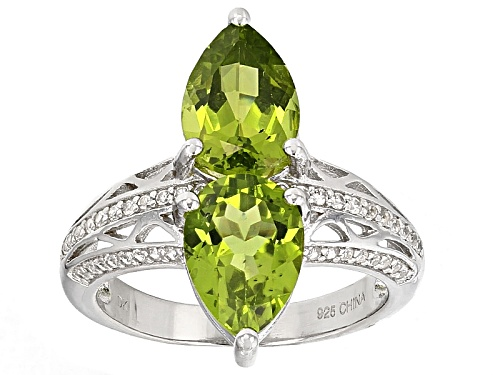Photo of 3.40ctw Pear Shape Manchurian Peridot™ And .32ctw Round White Zircon Sterling Silver 2-Stone Ring - Size 11