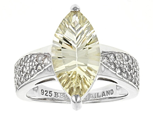 Photo of 2.89ct Marquise Yellow Labradorite With .67ctw Round White Zircon Sterling Silver Ring - Size 11