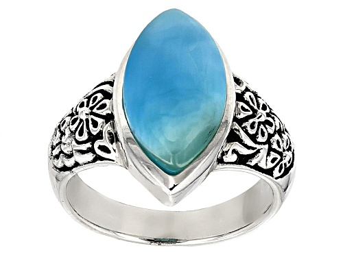 16x8mm Marquise Cabochon Larimar Sterling Silver Ring - Size 6