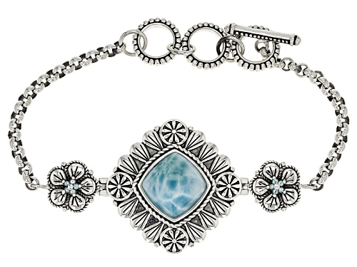 Photo of 13mm Square Cushion Larimar And .21ctw Round Swiss Blue Topaz Sterling Silver Bracelet - Size 8