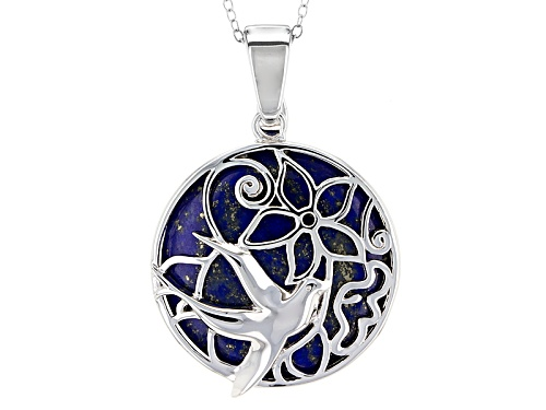 Photo of 25mm Round Cabochon Lapis Lazuli Sterling Silver Bird Enhancer With Chain