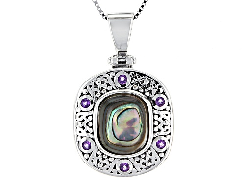Photo of 12x10mm Rectangular Cushion Abalone Shell And .10ctw Round Amethyst Silver Pendant With Chain