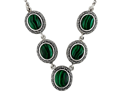 Photo of Oval Cabochon Malachite Sterling Silver Necklace - Size 18