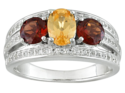 Photo of .76ct Oval Imperial Hessonite™, 1.07ctw Vermelho Garnet™, .20ctw White Topaz Silver Ring - Size 7