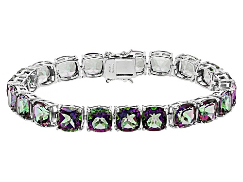 Photo of 51.40ctw Square Cushion Green Multicolor Quartz Sterling Silver Bracelet - Size 7.25