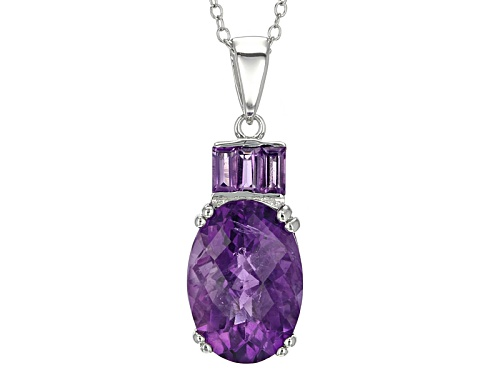Photo of 5.06ctw Baguette And Oval, Checkerboard Cut African Amethyst Sterling Silver Pendant With Chain