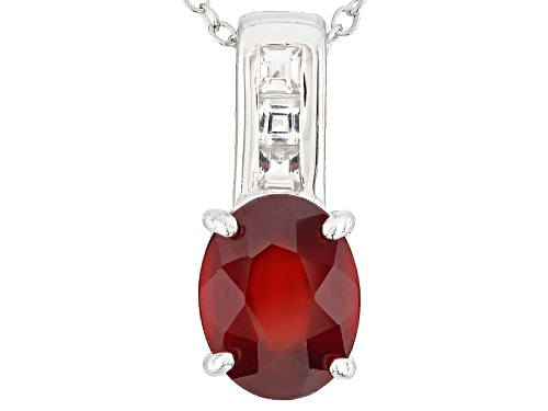 Photo of 2.00ct Oval Hessonite With .24ctw Square White Topaz Sterling Silver Pendant With Chain