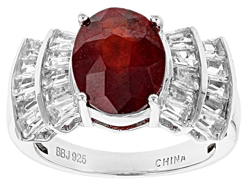 4.03ct Oval Hessonite Garnet With 1.60ctw Tapered Baguette White Topaz Sterling Silver Ring - Size 12