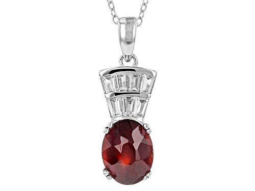 Photo of 2.76ct Oval Hessonite With .56ctw Tapered Baguette White Zircon Sterling Silver Pendant With Chain