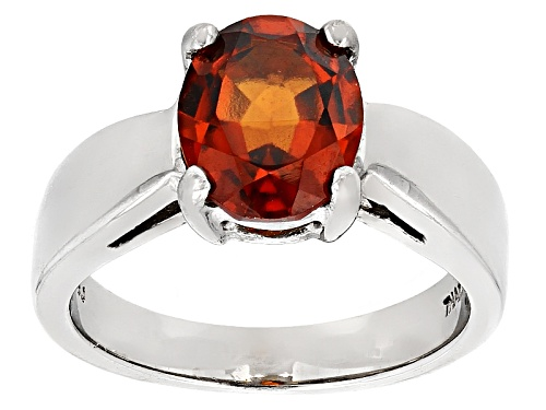 Photo of 2.55ct Oval Hessonite Sterling Silver Solitaire Ring - Size 8