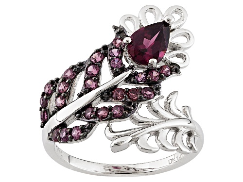 Photo of 1.32ctw Pear Shape And Round Raspberry Color Rhodolite Sterling Silver Bypass Feather Ring - Size 7