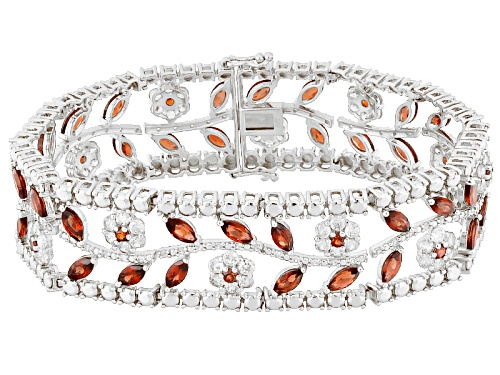 Photo of 10.45ctw Mixed Vermelho Garnet™ With 6.67ctw Round White Zircon Sterling Silver Floral Bracelet - Size 8