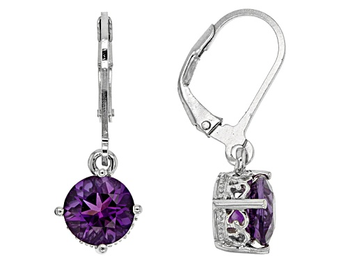 Photo of 1.70ctw Round Uruguayan Amethyst Solitaire Sterling Silver Dangle Earrings