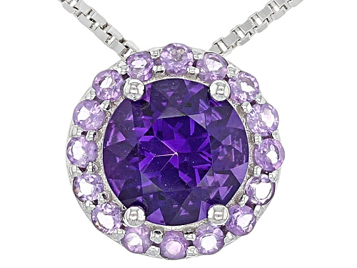 Photo of 1.00ct Round Uruguayan Amethyst And .32ctw Round Zambian Amethyst Sterling Silver Pendant With Chain