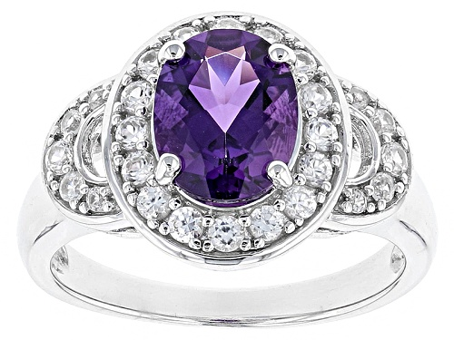 Photo of 1.39ct Oval Uruguayan Amethyst With .62ctw Round White Zircon Sterling Silver Ring - Size 12