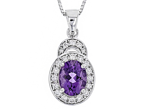 Photo of 1.39ct Oval Uruguayan Amethyst With .53ctw Round White Zircon Sterling Silver Pendant With Chain