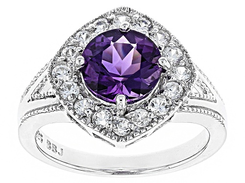 Photo of 1.70ct Uruguayan Amethyst And .80ctw Round White Zircon Sterling Silver Ring - Size 8