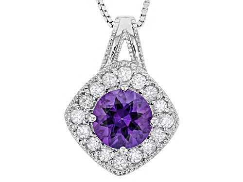 Photo of 1.70ct Round Uruguayan Amethyst And .80ctw Round White Zircon Sterling Silver Pendant With Chain