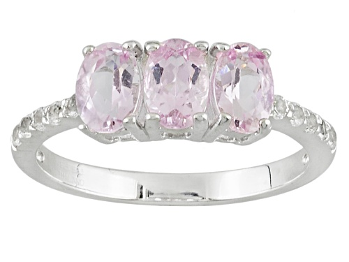 Photo of 1.27ctw Oval Precious Pink Topaz With .16ctw Round White Topaz Sterling Silver 3-Stone Ring - Size 7