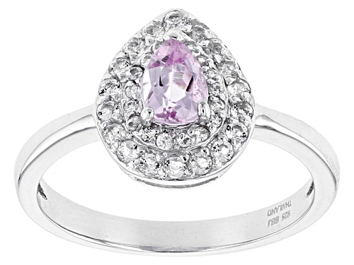 Photo of .38ct Pear Shape Precious Pink Topaz With .34ctw Round White Topaz Sterling Silver Ring - Size 9
