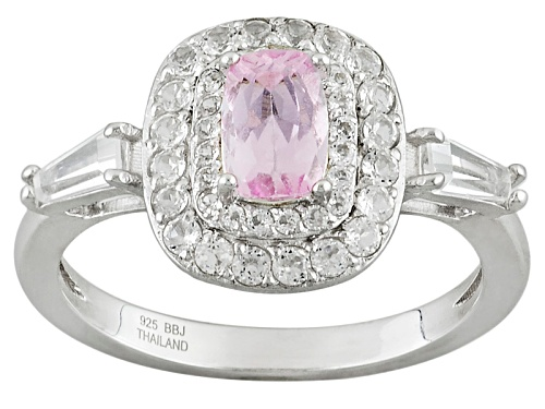 Photo of .47ct Cushion Precious Pink Topaz With .72ctw Tapered Baguette And Round White Topaz Silver Ring - Size 12