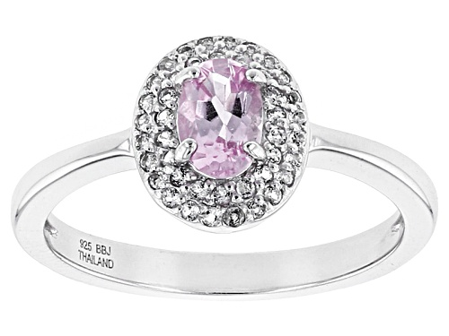 Photo of .42ct Oval Precious Pink Topaz With .14ctw Round White Topaz Sterling Silver Ring - Size 7