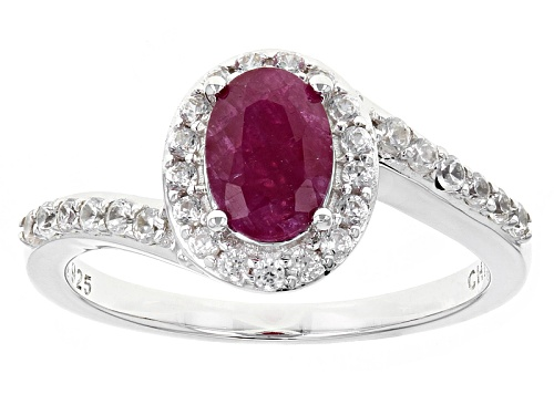 Photo of .91ct Oval Ruby And .17ctw Round White Zircon Sterling Silver Ring - Size 9