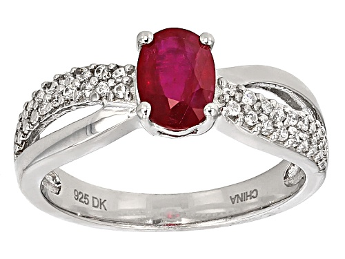 Photo of .75ct Oval Ruby And .17ctw Round White Zircon Sterling Silver Ring - Size 11