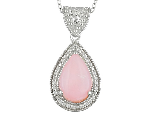 Photo of 12x8mm Cabochon Pear Shape Peruvian Pink Opal And .19ctw White Zircon Silver Pendant With Chain