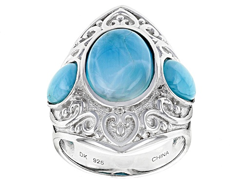 Photo of 14x10mm Oval And 8x6mm Pear Shape Cabochon Larimar Sterling Silver Ring - Size 5