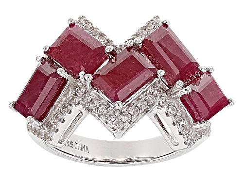 Photo of 6.12ctw Emerald Cut Indian Ruby And .49ct Round White Zircon Sterling Silver 5-Stone Ring - Size 7